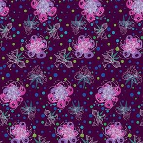 Temperamental White Flowers - Purple