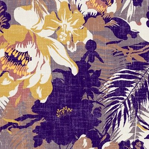 tropical floral burned ochre and yellow
