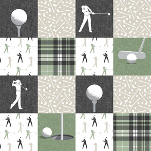 golf wholecloth - sage and beige plaid - LAD19