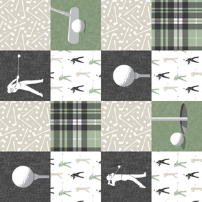 golf wholecloth - sage and beige plaid (90) - LAD19