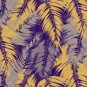 tropical palm leaves on purple