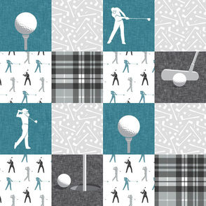 golf wholecloth - stone blue and grey plaid - LAD19