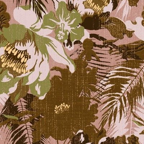 big tropical big floral in earth tones