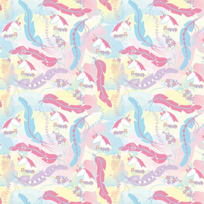 Unicorn Horse and Feathers small print.