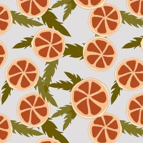 clementine slices on grey