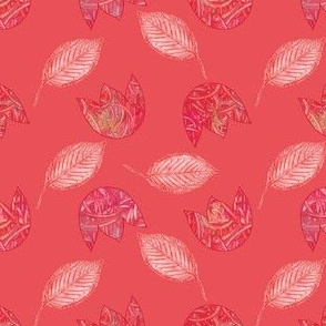 Red flowers and leaves on red background