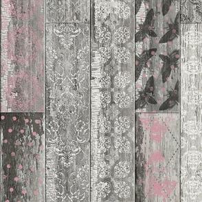 Vintage Wood Tiles Pink Grey Random