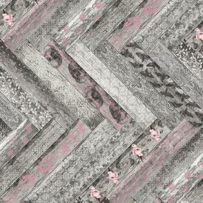 Vintage Wood Chevron Tiles Herringbone Pink Grey Horizontal