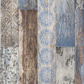 Vintage Wood Tiles Capri Blue Random