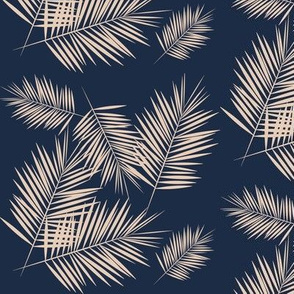 palm leaves - nude on navy