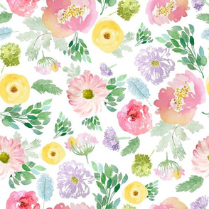 """12"""" Andalusia Spring Falling Florals White"""