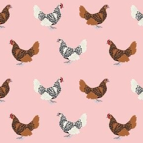 sebright chicken fabric - gold laced sebright, silver laced sebright, chicken fabric, birds fabric, farm bird fabric, chicken breed fabric -  pink