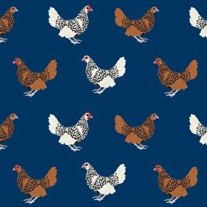 sebright chicken fabric - gold laced sebright, silver laced sebright, chicken fabric, birds fabric, farm bird fabric, chicken breed fabric - navy