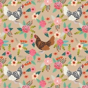 sebright chicken floral fabric - floral fabric, chicken fabric, chicken breeds, chicken breed fabric, silver laced sebright, gold laced sebright chicken - brown
