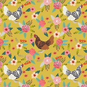 sebright chicken floral fabric - floral fabric, chicken fabric, chicken breeds, chicken breed fabric, silver laced sebright, gold laced sebright chicken -yellow