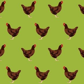 rhode island red chicken fabric - chicken fabric, chicken breeds, chicken breed fabric, farm bird fabric, farm fabric -  lime green