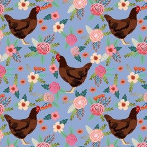 rhode island red chicken floral fabric - chicken fabric, floral fabric, chicken breed fabric, florals fabric, chickens fabric - blue