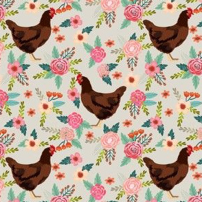 rhode island red chicken floral fabric - chicken fabric, floral fabric, chicken breed fabric, florals fabric, chickens fabric - tan