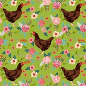 rhode island red chicken floral fabric - chicken fabric, floral fabric, chicken breed fabric, florals fabric, chickens fabric - lime