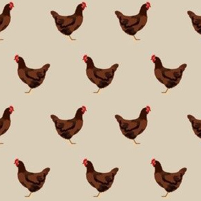rhode island red chicken fabric - chicken fabric, chicken breeds, chicken breed fabric, farm bird fabric, farm fabric - khaki