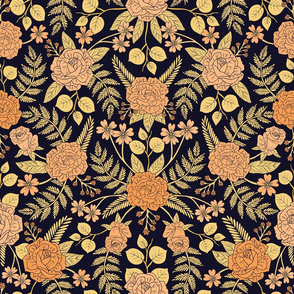 Peach, Pale Orange, Yellow & Dark Navy Blue Floral Pattern