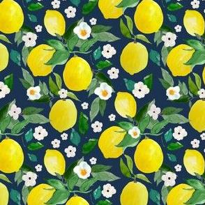 """4"""" Lemons Dark Blue Back"""