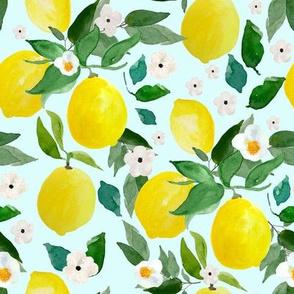 """8"""" Lemons Light Blue Back"""