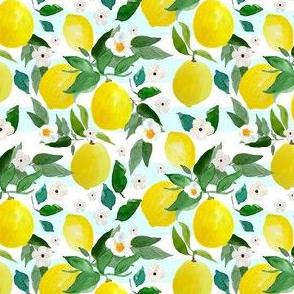 """4"""" Lemons Light Blue Stripes"""