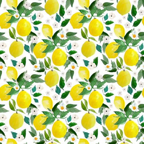 "4"" Lemons White fabric by shopcabin on Spoonflower - custom fabric"