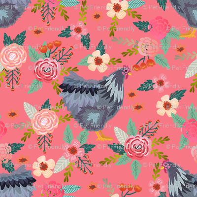 orpington chicken floral fabric - chicken fabric, floral fabric, chicken breed fabric, spring fabric, farm fabric - salmon