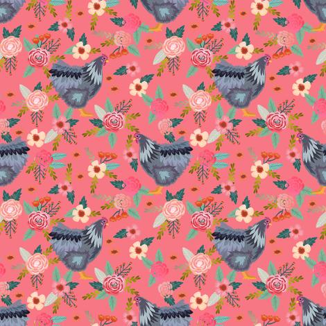 orpington chicken floral fabric - chicken fabric, floral fabric, chicken breed fabric, spring fabric, farm fabric - salmon fabric by petfriendly on Spoonflower - custom fabric