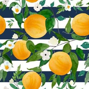 """8"""" Oranges Dark Blue Stripes"""