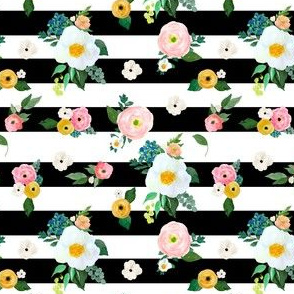 """4"""" Spring Blooms Black and White Stripes"""