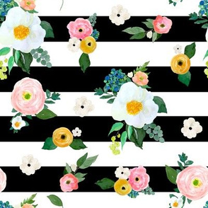 """8"""" Spring Blooms Black and White Stripes"""