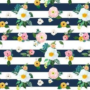 "4"" Spring Blooms Dark Blue Stripes"