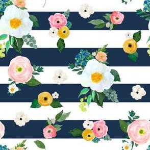 "8"" Spring Blooms Dark Blue Stripes"