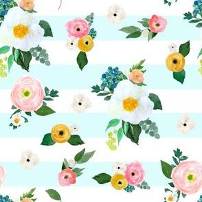 """8"""" Spring Blooms Light Blue Stripes"""
