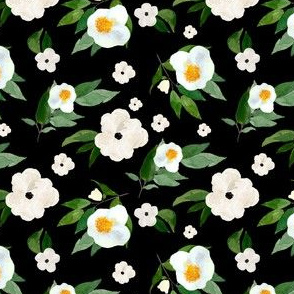 "4"" White Flowers Black"