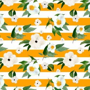 "4"" White Flowers Orange Stripes"