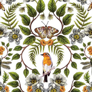 Spring Reflection - Floral/Botanical Pattern w/ Birds, Moths, Dragonflies & Flowers