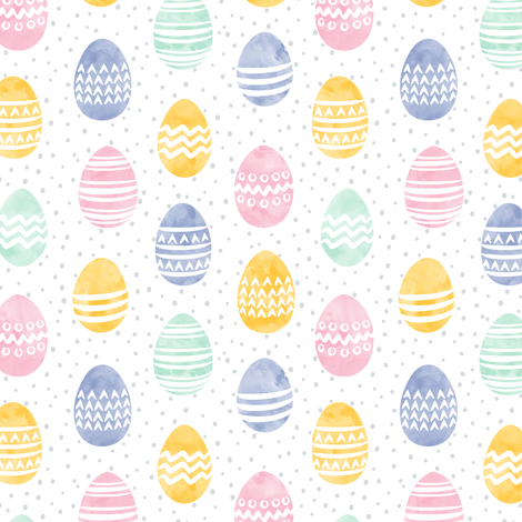 (small scale) Easter eggs - watercolor multi eggs LAD19BS fabric by littlearrowdesign on Spoonflower - custom fabric