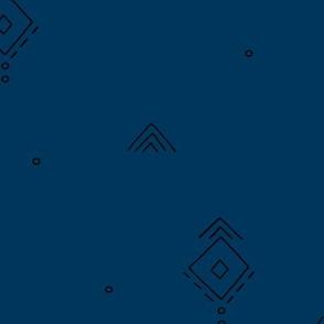 Geometric minimal indian summer mudcloth abstract aztec kilim design navy blue JUMBO