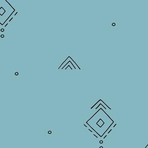 Geometric minimal indian summer mudcloth abstract aztec kilim design blue JUMBO