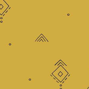 Geometric minimal indian summer mudcloth abstract aztec kilim design mustard yellow JUMBO