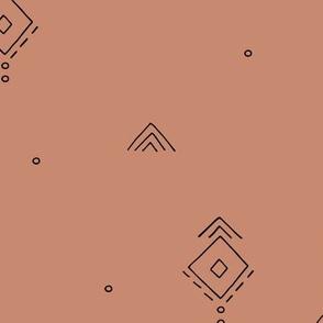Geometric minimal indian summer mudcloth abstract aztec kilim design copper green JUMBO