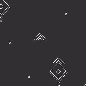 Geometric minimal indian summer mudcloth abstract aztec kilim design charcoal gray JUMBO