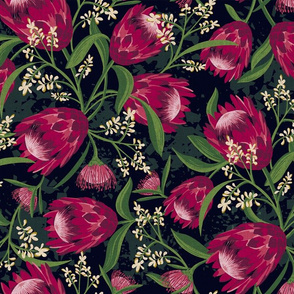 Sugarbush - Protea Floral Black Medium Scale