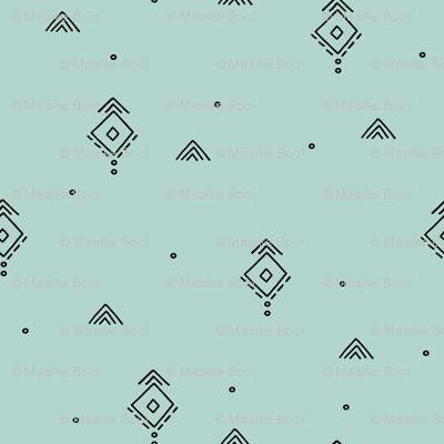 Geometric minimal indian summer mudcloth abstract aztec kilim design mint green