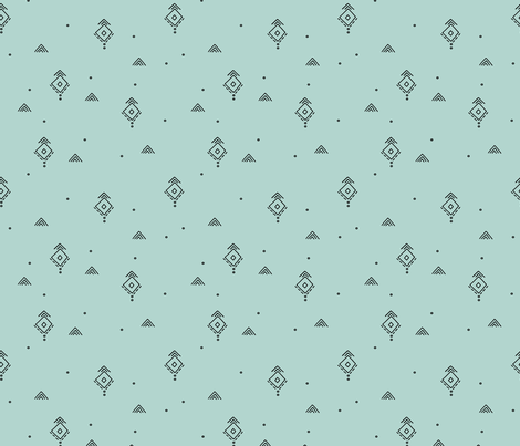 Geometric minimal indian summer mudcloth abstract aztec kilim design mint green fabric by littlesmilemakers on Spoonflower - custom fabric