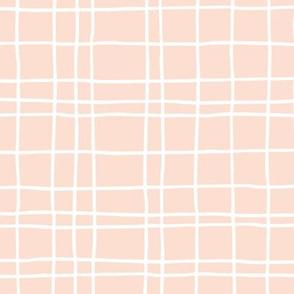 Minimal irregular stripes abstract linen lines geometric grid peach girls